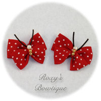 Red with White Dots Butterfly Dog Bow (pair)