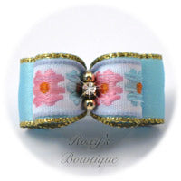 Light Blue and Pink Flowers - Puppy Dog Bow