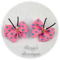 Pink with Blue Dots Butterfly Dog Bow (pair)
