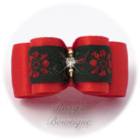 Red Satin and Red Flowers - Puppy Dog Bows