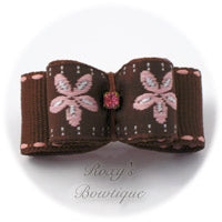 Brown Jacquard and Pink Daisy