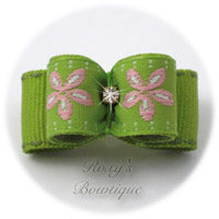 Lime Jacquard and Pink Daisy