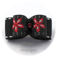 Black Jacquard and Red Daisy