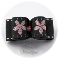 Black Jacquard and Pink Daisy