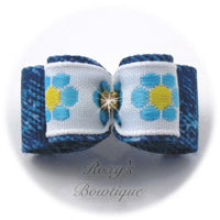 Daisy Garden and Denim Dog Bow - Blue - Puppy Dog Bow
