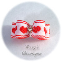 Red Valentine Hearts - Tiny Dog Bow