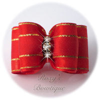 Elegant Gold - Red - Adult Dog Bow