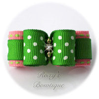 Swiss Dots Apple Green and Pink