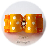 Swiss Dots Gold and Torrid Orange