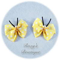 Baby Maize with White Dots Butterfly Dog Bow (pair)