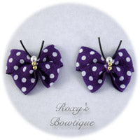 Regal Purple with White Dots Butterfly Dog Bow (pair)