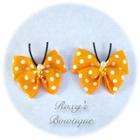 Gold with White Dots Butterfly Dog Bow (pair)