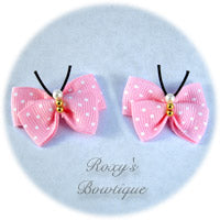 Light Pink with White Dots Butterfly Dog Bow (pair)