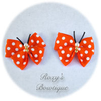 Torrid Orange with White Dots Butterfly Dog Bow (pair)