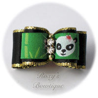 Panda with Black Satin - Puppy Dog Bow