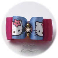 Blue Hello Kitty Dog Bow