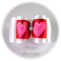 Red and White Valentine Bow with Rhinestone - Adult Dog Bow