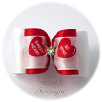 Valentine Message Bow with Rhinestone - Adult Dog Bow
