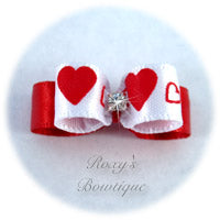 Red Fancy Hearts - Tiny Dog Bow