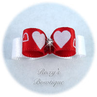 White Fancy Hearts - Tiny Dog Bow