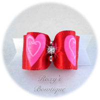 Red and White with Pink Hearts-Puppy Dog Bow