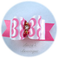 Fancy Pink and White with Rhinestone and Gold Beads-Puppy Dog Bow