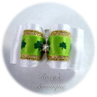 Lucky Shamrocks with Gold and Rhinestone - Adult Dog Bow