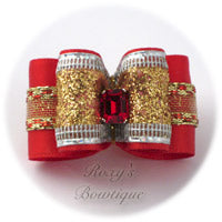 Christmas Sparkling Gold - Adult Dog Bow