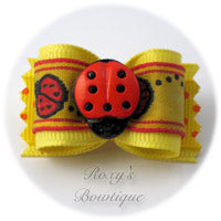 Lemon and Ladybugs Dog Bow
