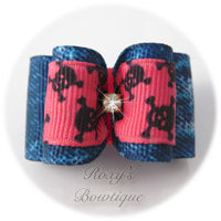 Denim and Hot Pink Dog Bow - Adult Dog Bow