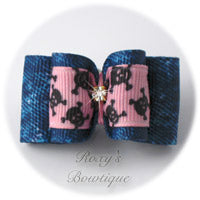 Denim and Light Pink Dog Bow - Adult Dog Bow