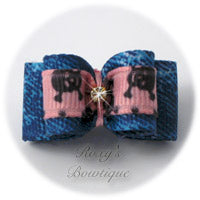 Denim and Light Pink Dog Bow - Puppy Dog Bow