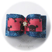 Denim and Hot Pink Dog Bow - Puppy Dog Bow