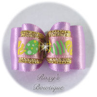 Light Orchid and Easter Eggs - Adult Dog Bow