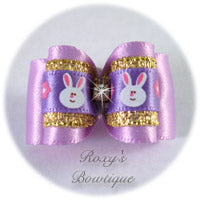 Light Orchid and Easter Bunny - Adult Dog Bow