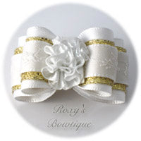 Antique White with White Carnation - Adult Dog Bow