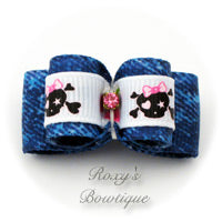 Denim Baby Skull Dog Bow - Puppy Dog Bow