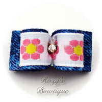 Daisy Garden and Denim Dog Bow - Pink - Puppy Dog Bow