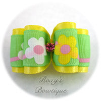 Lemon and Spring Flowers - Adult Dog Bow