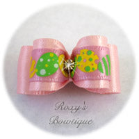 Light Pink and Easter Eggs-Puppy Dog Bow
