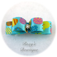 Turquoise and Tiny Easter Eggs - Tiny Dog Bow