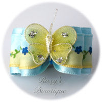 Light Blue Satin Butterfly - Adult Dog Bow
