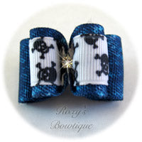 Denim and White Dog Bow - Adult Dog Bow