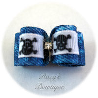 Denim and Skull White Dog Bow - Puppy Dog Bow