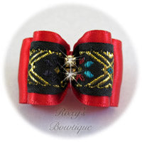Red and Gold Elegance - Adult Dog Bow