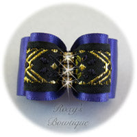 Purple and Gold Elegance - Adult Dog Bow