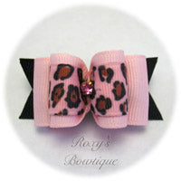 Pink Cheetah - Adult Dog Bow