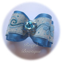Porcelain Blue Crystal Rose - Adult Dog Bow