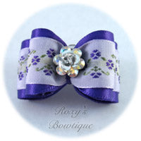 Regal Purple Crystal Rose - Adult Dog Bow