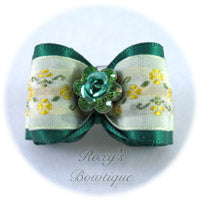 Forest Green Crystal Rose - Adult Dog Bow